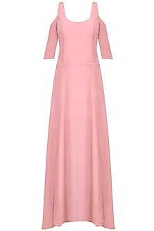 Rose Pink Cutout Shoulder Flared Gown