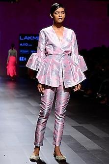Mogra Print Peplum Blazer with Circular Flounce Details On The Sleevess by Nishka Lulla