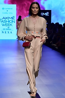 Beige Tie Up Jumpsuit by Nishka Lulla