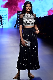 Black High Waist Embroidered Skirt by Nishka Lulla