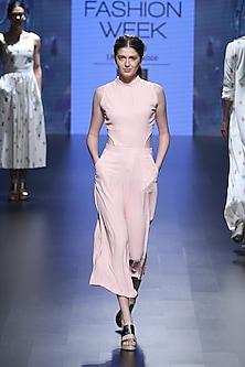 Pink cubes cutout jumpsuit by Nishka Lulla