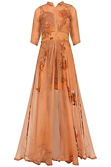Rust Orange Applique Work Maxi Dress and Bustier Set