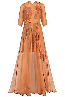 Rust Orange Applique Work Maxi Dress and Bustier Set by Nikita Mhaisalkar
