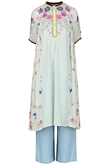 Light Blue Embroidered Tunic by Nida Mahmood