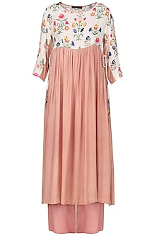 Light Peach Embroidered Full Sleeves Tunic
