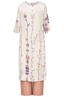 Light Peach Embroidred Kurta by Nida Mahmood