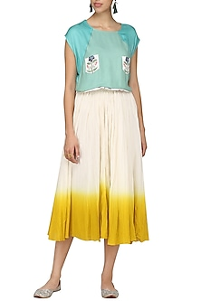 Cream Ombre Skirt by Nida Mahmood