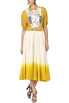 Mustard Yellow Embroidered Top by Nida Mahmood
