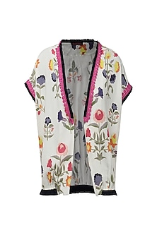 White Front Open Floral Digital Print Jacket by Nida Mahmood