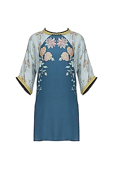 Dark Blue Floral Digital Print Tunic