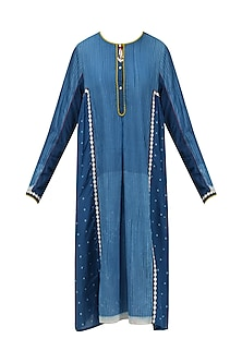 Blue Resist Print Knee Length Dress