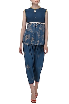 Blue Restist Print Top by Nida Mahmood