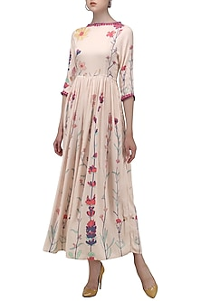 Pastel Pink Printed Maxi Dress by Nida Mahmood