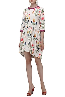 White High-Low Floral Digital Print Dress by Nida Mahmood