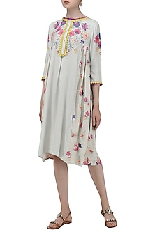Light Blue Floral Digital Print Knee Length Dress by Nida Mahmood