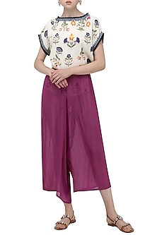 Purple Palazzo Pants by Nida Mahmood