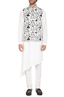 White Kurta Set With Printed Jacket by Nautanky By Nilesh Parashar Men