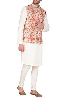 Rust & Beige Printed Jacket With Kurta Set by Nautanky By Nilesh Parashar Men