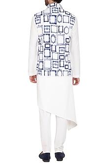 White & Blue Printed Jacket With Kurta Set by Nautanky By Nilesh Parashar Men