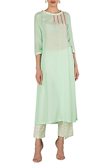 High Slit Cut Kurta Pants In Cotton Silk Khadi