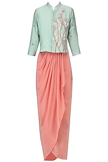 Duck egg embroidered jacket with millenium pink ruffle skirt
