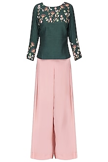 Poison green embroidered top with blush pink pants