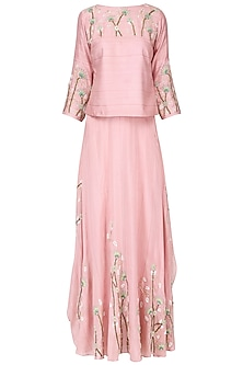Blush pink floral embroidered top with panelled pants