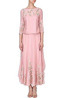 Blush pink floral embroidered top with panelled pants  by Nautanky By Nilesh Parashar