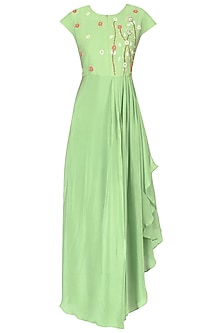 Mint floral embroidered pleated gown