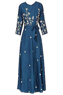 Teal floral embroidered wrap dress