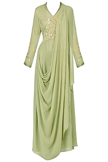 Olive embroidered victorain drape kurta with pants