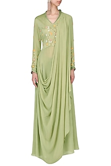 Olive embroidered victorain drape kurta with pants by Nautanky By Nilesh Parashar