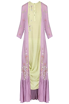 Olive drape dress with lilac embroidered cape