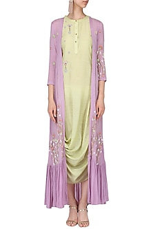 Olive drape dress with lilac embroidered cape by Nautanky By Nilesh Parashar