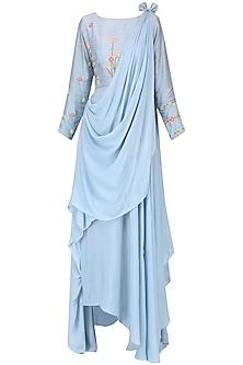 Powder blue and pink embroidered drape lehenga set