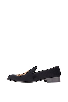 Ash Black Embroidered Loafer Shoes by Nopelle