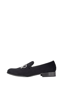 Ash Black Hand Embroidered Loafer Shoes by Nopelle