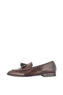 Brown Crocodile Embossed Loafer Shoes by Nopelle