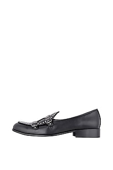 Black Double Buckle Shoes by Nopelle