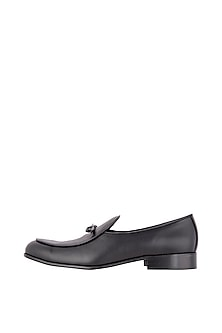 Black Bow Belgian Loafer Shoes by Nopelle