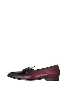 Deep Red Handcrafted Low-Cut Belgian Loafers by Nopelle