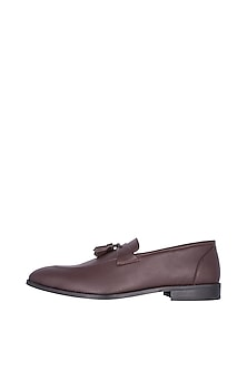 Wine Handcrafted Penny Strap Tassel Loafers by Nopelle