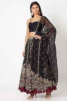 Black Embroidered Lehenga Set by Nadima Saqib