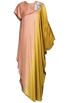 Pink and Yellow Embroidered Maxi Dress