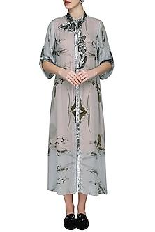 Grey Printed Long Shirt Dress by N&S Gaia