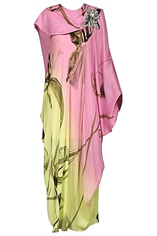 Pink and Lemon Green Draped Dress