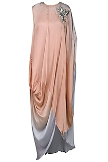 Pink Ombre Draped Dress