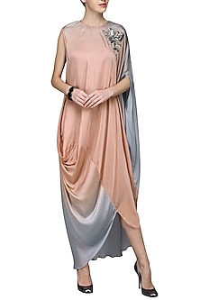 Pink Ombre Draped Dress by N&S Gaia