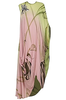 Pink Draped Printed Dress