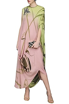 Pink Draped Printed Dress by N&S Gaia